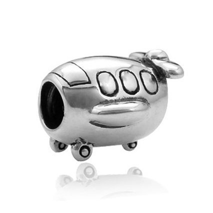 - Plane / Airplane Charm 925 Sterling Silver Travel Charm Flight Beads for Fashion bracelets & Necklaces (Cute plane)
