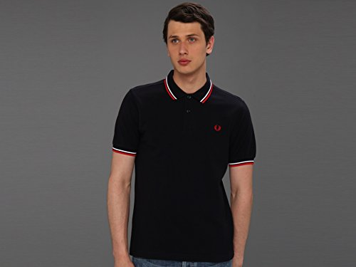 Fred Perry Men's Twin Tipped Polo Shirt-M3600, Navy/White/Red, Large