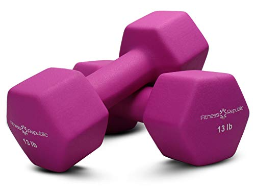 Fitness Republic Neoprene Dumbbell Set of 2, 13 Pound Set Non-Slip, Hex Shape, Free weights set Muscle Toning, Strength Building, Weight Loss, Portable Weights Home Gym Hand Weights, 13lb Light Purple