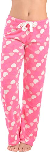 Active Club Women's Warm Printed Cozy Plush Lounge Pajama Pants (Large, Pink Love Heart)