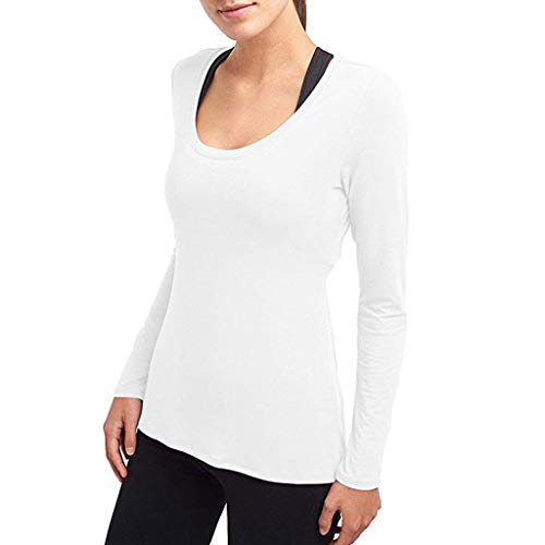f-Back Tops Round Collar Long Sleeve Slim Fit Sweatshirt Lightweight Comfy Pullover Blouse White ()