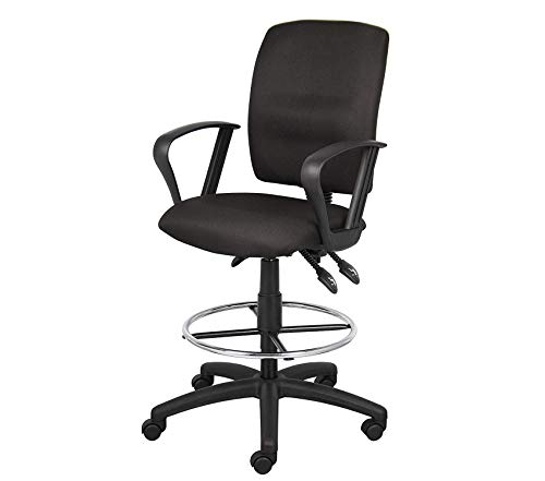 Drafting Office Chair Grey Loop - Wood & Style Office Home Furniture Premium Office Products Multi-Function Fabric Drafting Stool with Loop Arms in Black