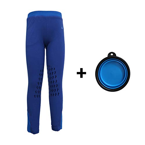 HR Farm Kid's Lovely Knee Patch Silicone Breeches Horse Riding Pull On Equestrian Pants with 1 Free Silicone Dog Bowl (Blue, 14)