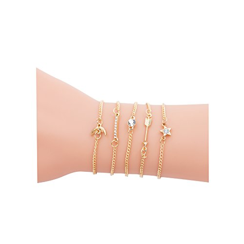 Zealmer Women Girl's Assorted Multiple Color Gold Bracelet Set Charm Rhinestone Star Moon Arrows 5 Pieces Pack Set With Paper Card