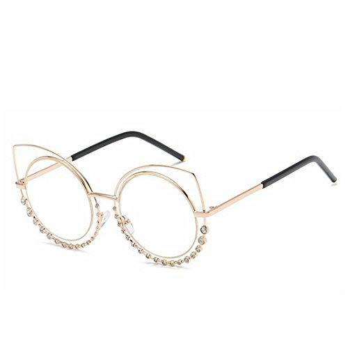 de Sol para Lens Frame Color Frame Cat'S Clear con Diamond Yiyepoetry metálicas Gafas Gold Lens Pink Gafas de Sol Eyes Mujer Clear wPSq1EYx