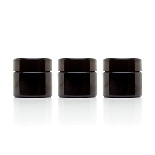 Infinity Jars 50 Ml (1.7 fl oz) Travel Size Black Ultraviolet Glass Screwtop Jar 3-Pack