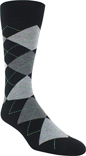 Florsheim Men's Argyle Crew Dress Sock (1 Pair), Black