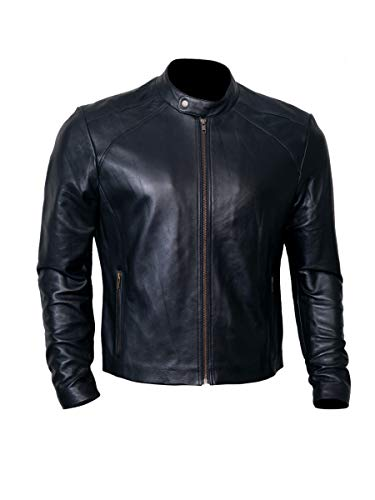 Black Leather Jacket Men for Bikers | Genuine Lambskin Motorcycle Jackets ()