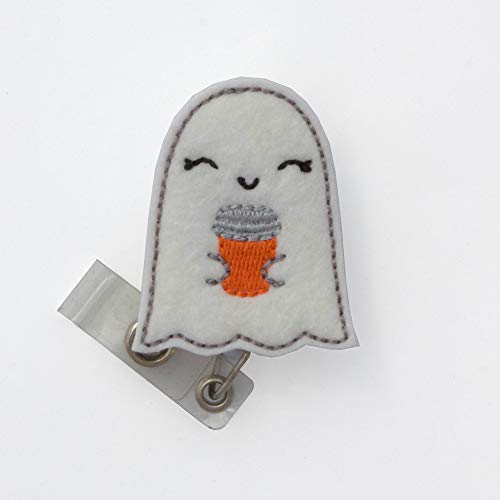 Ghost with Coffee Badge Reel (Swivel Alligator Clip)