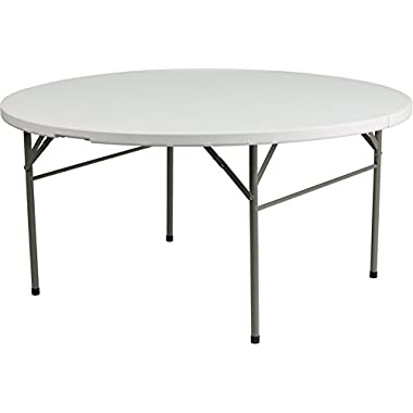 60  Round Bi-Fold Granite White Plastic Folding Table