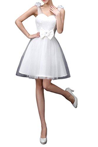 Abendkleid Spitze Partykleid Schleife Tuell Glamour Missdressy Weiß Damen Knielang Traeger qTO7Paw