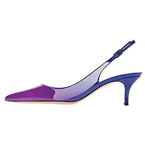 Sandals Womens Stiletto Party Ankle Slingback purple Strap Dress Heel Toe Pointy Pumps Shoes Lovirs blue Mid nqxgFpFw