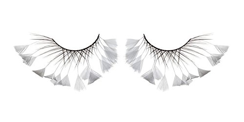 Zinkcolor White Feather Tip False Eyelashes F417 Dance Halloween Costume (White Feather Lashes)