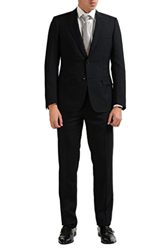 Christian Dior Men's 100% Wool Black Two Button Suit US 38 IT 48; - Christian Dior Mens Clothing