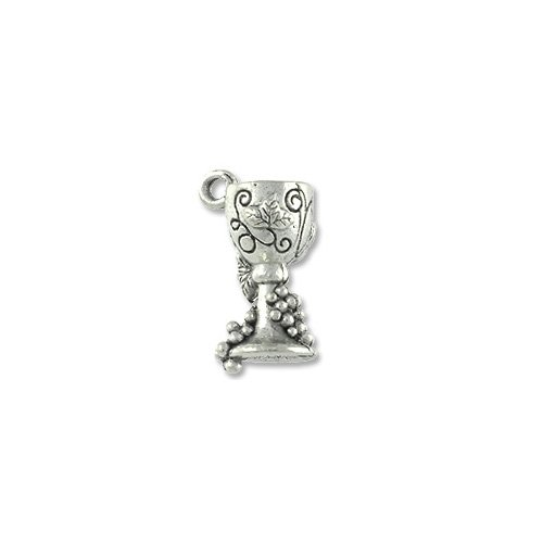 Charm for Jewelry Making - Goblet w/ Grape 15x7mm Pewter Antique Silver Plated ()
