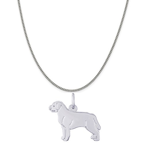 Rembrandt Charms Sterling Silver Labrador Retriever Charm on a Curb Chain Necklace, 20