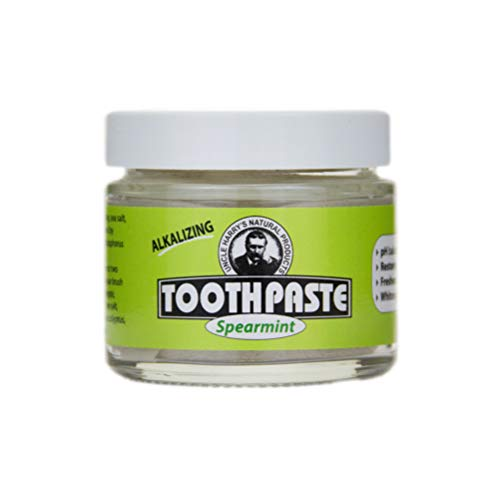 Uncle Harry's Natural & Fluoride-free Remineralizing Toothpaste - Freshens Breath & Strengthens Enamel - Spearmint (3 oz. jar)