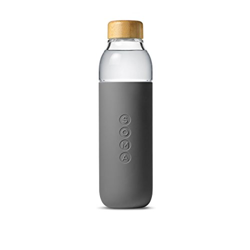 Soma Glass Water Bottle – Eco-Friendly Alternative to Bottled Water – BPA Free 17oz – Stay Hydrated – Wide Mouth – Shatter-Resistant Borosilicate Glass (Grey)