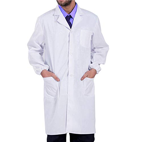 Zhtoly Men Consultation Lab Coat, Women Professional Laboratory Doctor Coat - 39 Inch Long Sleeve (White,X-Large) -
