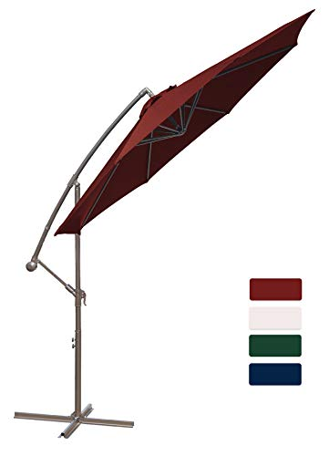 HASLE OUTFITTERS Offset Patio Umbrella 10FT Cantilever Umbrella Outdoor Market Umbrella Hanging Umbrella with Cross Base Red