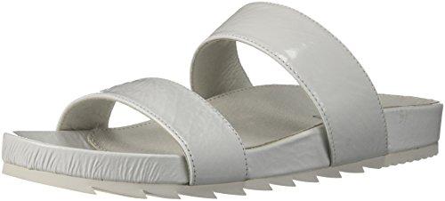 J Slides Women's Edie Sandal, White Cracked, 6 Medium US