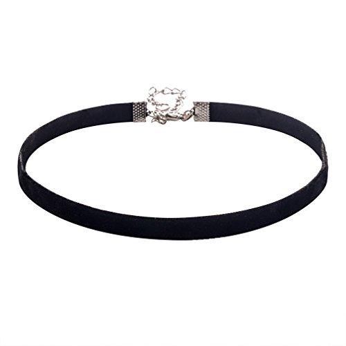 Jane Stone Damen Halskette ohne Anhänger Trachtenschmuck Kropfband schwarz halsband Kette aus Samt und Metalllegierung