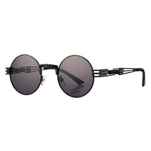 COASION Vintage Round Circle John Lennon Steampunk Gothic Sunglasses Metal Frame for Men Women (Black Frame/Black - Round Sunglasses Little