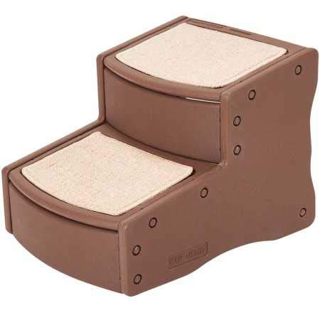 Pet Gear Easy Step II Pet Stairs, 2 Step for Cats/Dogs up to 75-pounds, Portable, Removable Washable Carpet Tread, Chocolate by Pet Gear