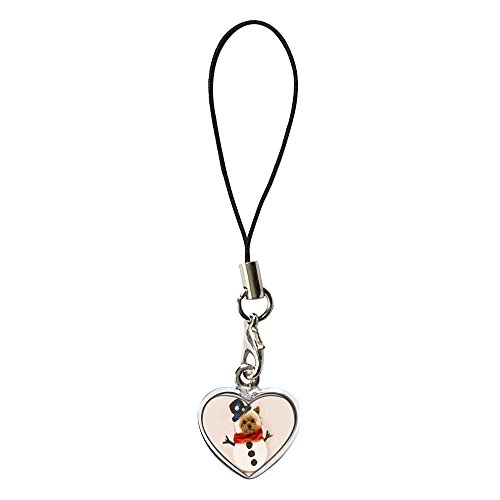- GiftJewelryShop Silver Plated Puppy Snowman Flower Photo Dangle Heart Strap Hanging Chain for Phone Cell Phone Charm