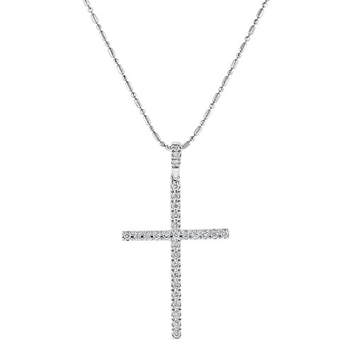 Olivia Paris 14k Gold Diamond Cross Pendant Necklace (0.27 cttw, H-I Color, SI2-I1 Clarity), 18