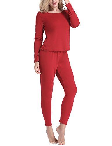 f17c12ab5f54 ... Yulee Damen Thermounterwäsche Set Einfarbig Hemd und Hose in europäischer  Größen Schwarz Rosa Dunkelblau Rot Grau ...