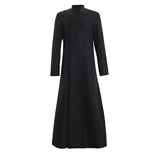 1791's lady Single Breasted Minister Choir Cassock Robe Clergy Pulpit Vestment (XXL:Height73-74 Bust50-52 Waist44-46 Hips48-50, Black 1)