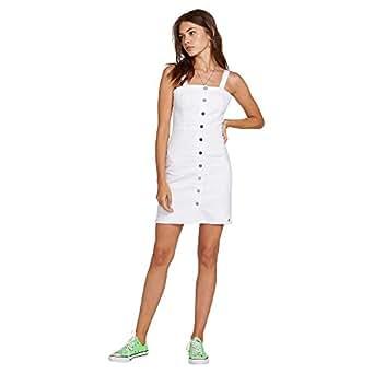 Volcom Junior's Women's Vol Stone Button Up Denim Dress, Paint White, Large