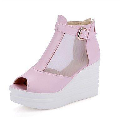 LvYuan Mujer-Tacón Cuña-Confort Innovador-Sandalias-Boda Vestido Informal Fiesta y Noche-Materiales Personalizados-Negro Rosa Blanco Pink