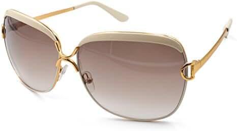 Good Bag Women's Oversized Metal Frame Colored Lens Uv400 Protection Sunglasses