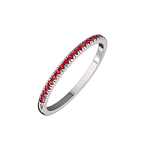 Solid Sterling Silver Delicate & Dainty Band Ring with 21 Ruby Gemstones for Women ()