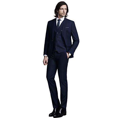 YIMANIE Mens Solid 3-Piece Suit One Button Formal Jacket Pants Vest Set Blazers, Dark Blue, (Blue 2 Button Suit)