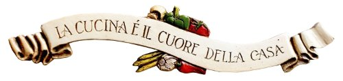 Piazza Pisano Art by Al Pisano Italian Kitchen Decor Wall Plaque Door Topper with The Italian Words for The Kitchen is The Heart of The Home