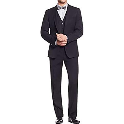 Calvin Klein Mens Mini Herringbone Peak Lapel Two-Button Suit