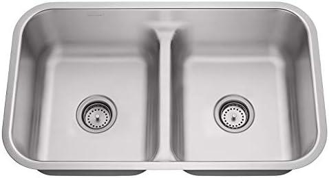 Miligore 32 x 19 x 9 Deep Double Bowl 50 50 Low Profile Split 16-Gauge Stainless Steel Kitchen Sink – Includes Drains Grids