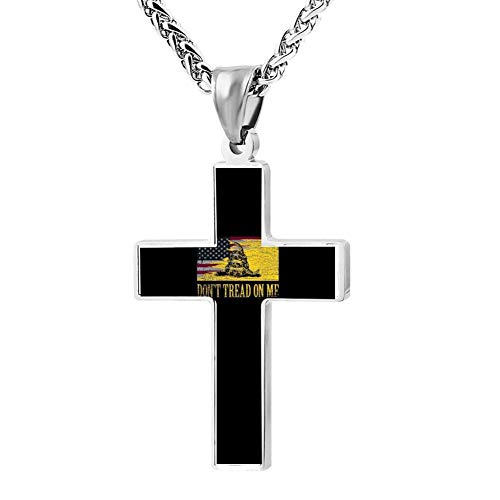 - Elelab Cool Don't Tread On Me Cross Necklace Zinc Alloy Pendant Creative Personalized Accessories Prayer Christian 24 inch