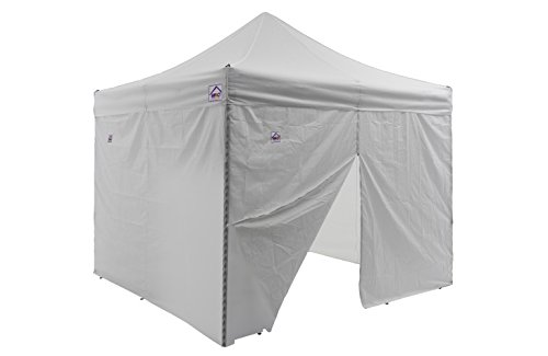 Impact Canopy 10×10 Instant Pop Up Canopy Tent, Aluminum Frame, Sidewalls, 4 Weight Bags, Roller Bag, White