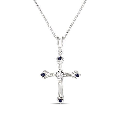 Ferhe New York Mother's Day Gift, 14K Almighty Cross Pendant with Diamond & Sapphire,Diamond Almighty Cross Pendant, Sapphire Almighty Cross Pendant by Ferhe New York
