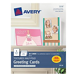Avery Cardstock - Avery 3378 Textured Half-Fold Greeting Cards, Inkjet, 5 1/2 x 8 1/2, White, Envelopes Included (Box of 30)