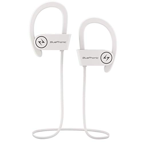 Bluephonic Wireless Sport Bluetooth Headphones - Hd Beats Sound Quality - Sweat Proof Stable Fit in Ear Workout Earbuds - Ergonomic Running Earphones - Noise Cancelling Microphone (White)