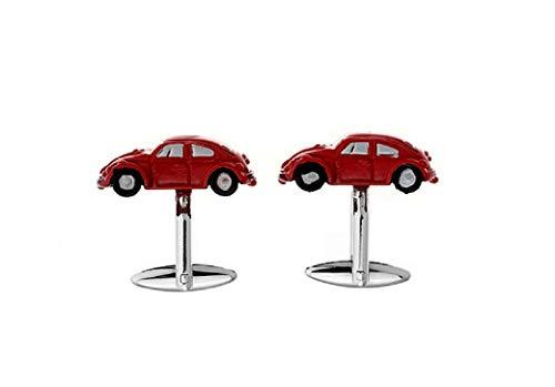 MRCUFF Iconic Car Beetle Red Pair Cufflinks in a Presentation Gift Box & Polishing Cloth