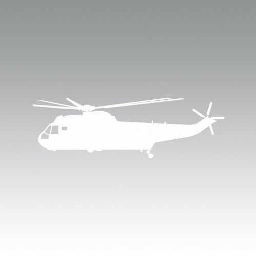 King 2 Helicopter (SH-3 H-3 Sea King Helicopter Sticker - Decal - Die Cut - White)