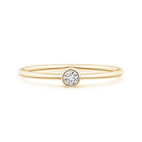 (Solitaire Lab Grown Round Diamond Stackable Ring in 14k Yellow Gold)