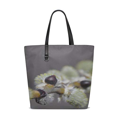 Macro Willow Branch Spring Bloom Tote Bag Purse Handbag For Women Girls ()