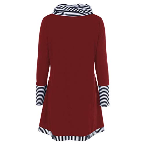 Blouse Vin Print Fashion Sleeve Pockets Striped Womens Casual Tee Patchwork Long Lckygirls Top 7qUPawP